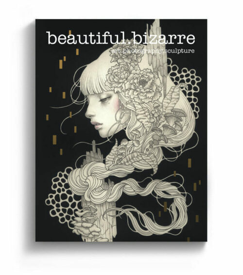 Audrey Kawasaki pop surrealism painting on the cover of Beautiful Bizarre art magazine