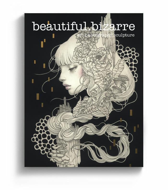 Audrey Kawasaki pop surrealism painting on the cover of Beautiful Bizarre art magazine
