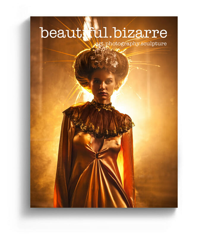 Miss Aniela fine art photography on the cover of Beautiful Bizarre art magazine