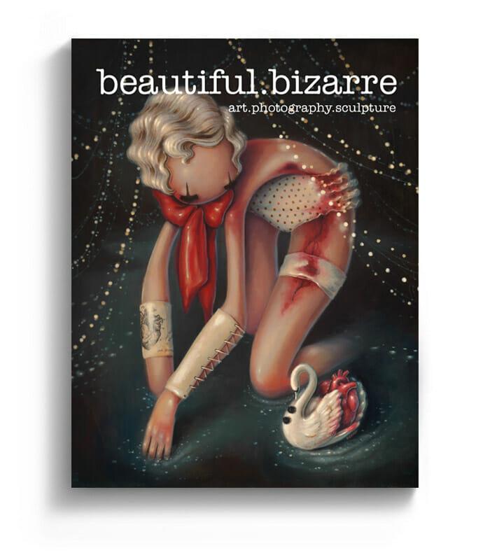 Brandi Milne pop surrealism painting on the cover of Beautiful Bizarre art magazine