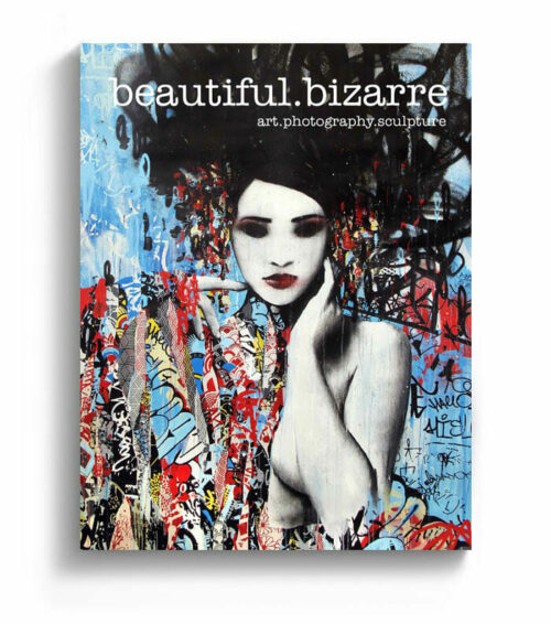 HUSH street art painting on the cover of Beautiful Bizarre art magazine