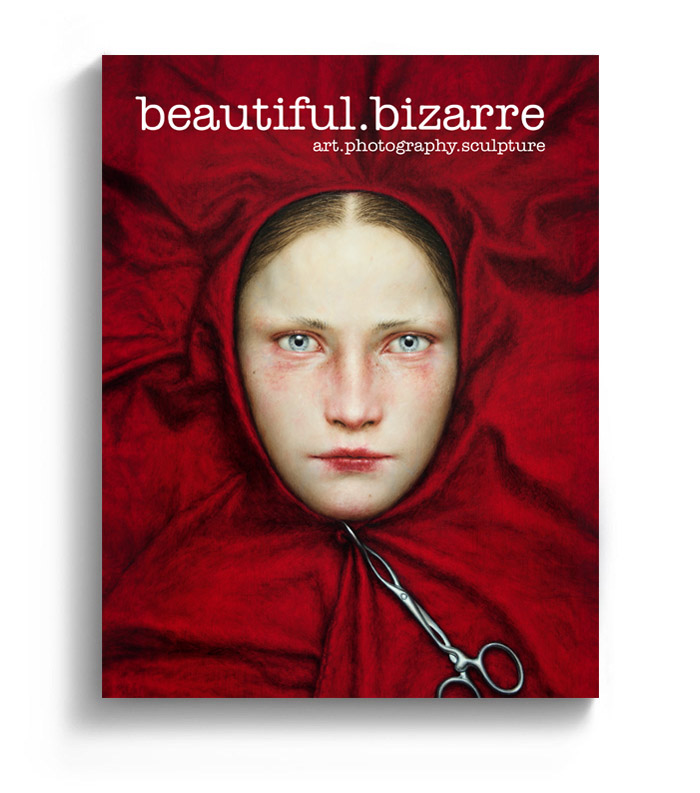 Dino Valls dark surrealism painting on the cover of Beautiful Bizarre art magazine