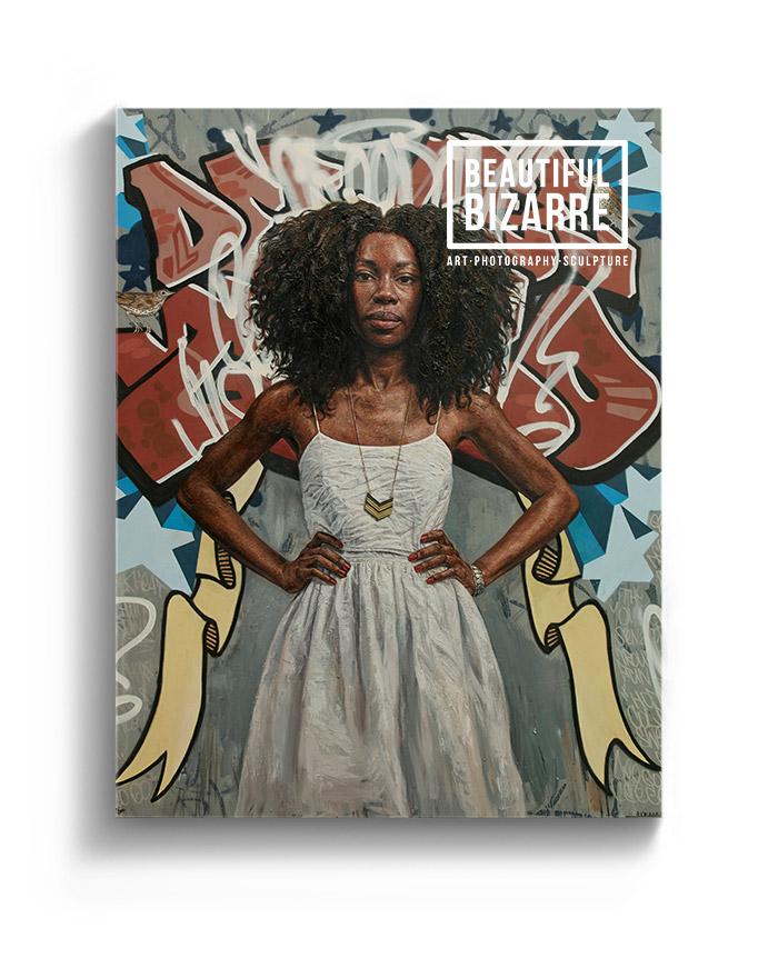 Tim Okamura figurative painting on the cover of Beautiful Bizarre art magazine