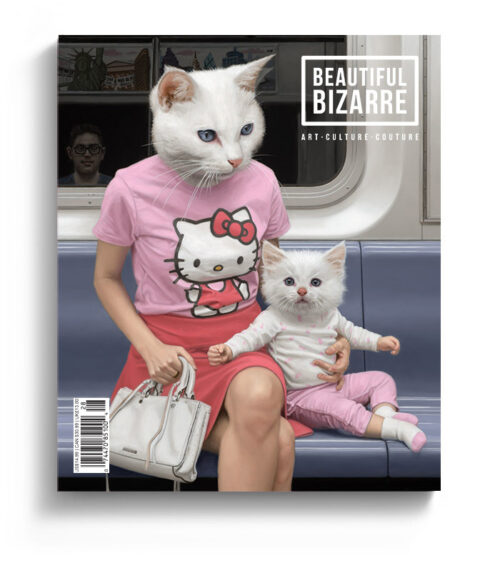 Matthew Grabelskypop surrealism hello kitty painting on the cover of Beautiful Bizarre art Magazine