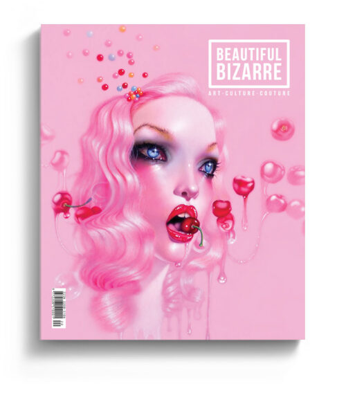 Troy Brooks coloured pencil drawing on the cover of Beautiful Bizarre art magazine